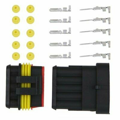 SODIAL(R) Kit 5 Pins Impermeable Electrico Cable Conector Sellado K3T4