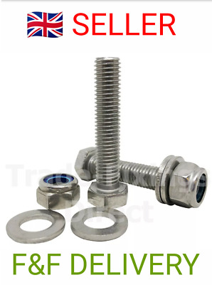 M12 FULLY THREADED BOLTS 80mm - 140mm NYLOC NUT & WASHER 8.8 HIGH TENSILE