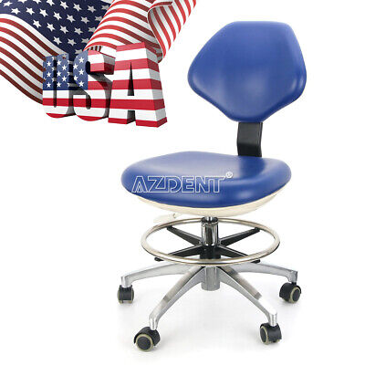 UPS Dental Dentist Rolling Stool Mobile Chair Height Adjustable PU Leather Blue
