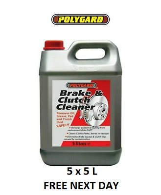 5 x 5 Polygard Brake Parts Clutch Cleaner Professional 5 Litre 25L FREE NEXT DAY
