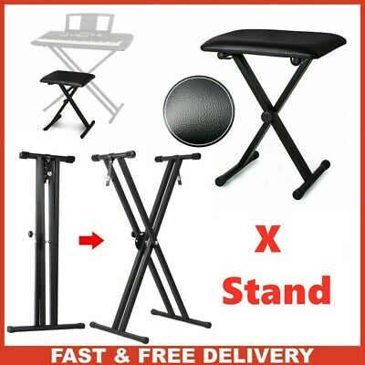 Double Braced Height Adjustable X Frame Music Piano Keyboard Stand & Bench Chair