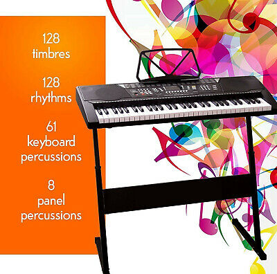 MYLEK Electronic Keyboard Musical 61 Key Full Size Digital Piano with Stand