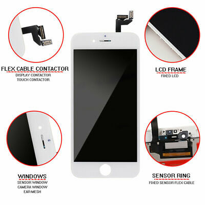 For iPhone 6S White LCD Screen Display Replacement Digitizer + 3D Touch Assembly