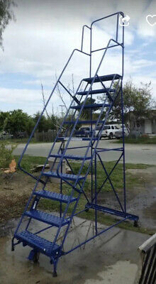 Louisville Steel Warehouse Rolling Ladder With Platform Over 11' Tall -USA Made