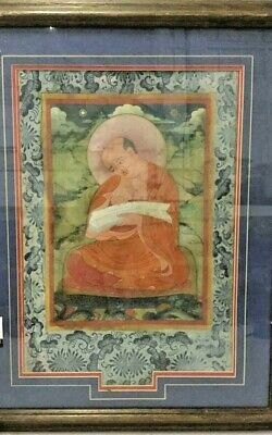 Antique Chinese Textile Scroll Painting Reverse Sun Aged Buddha on Fabric Silk