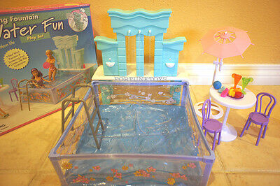 FANCY Life DOLL HOUSE Furniture POOL WATER FUN RUNNING FOUNTAIN PLAY SET