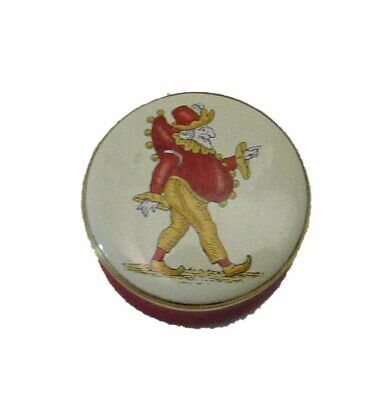 "English Handpainted Enamel box- Round with Mr ""Punch"" on the lid"