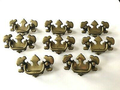 8 Brass Drawer Pulls Cabinet Handles, Chippendale style, 2.5 center to center