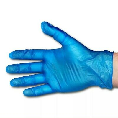 Disposable Single-Use Powder Free Blue Latex Vinyl Non-Sterile Ambidex Gloves