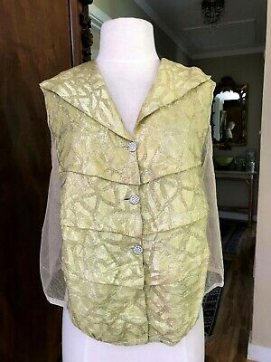 Vintage Antique 1920's Chartreuse Green Brocade Blouse Rhinestone Buttons