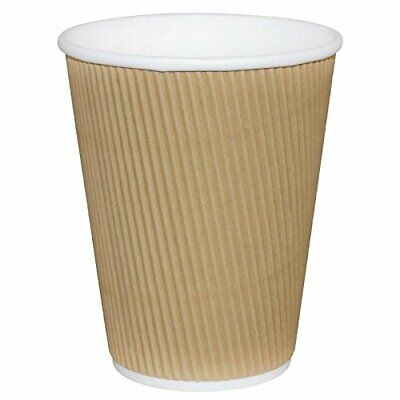 Fiesta GP443 Takeaway Kraft Coffee Cups, Ripple Wall, 8 oz. Pack of 25