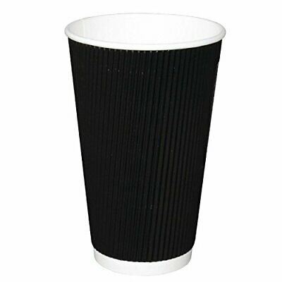 Fiesta CM542 Takeaway Kraft Coffee Cups Ripple Wall, 16 oz., Black Pack of 25