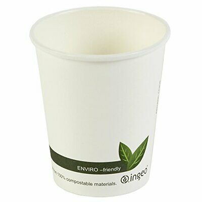 Compostable Hot Drink Cups 8oz  230ml - Set of 50 - Biodegradable Takeaway Coff