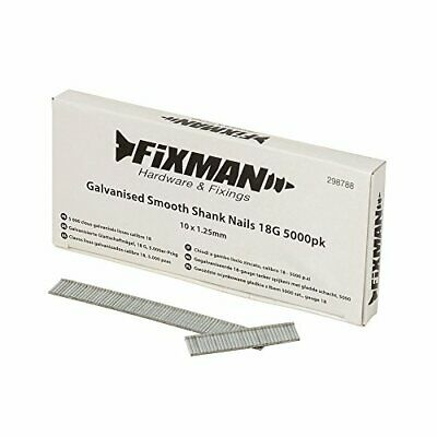 Fixman 298788 Galvanised Smooth Shank Nails 18G 1.25 x 10mm - Pack of 5000
