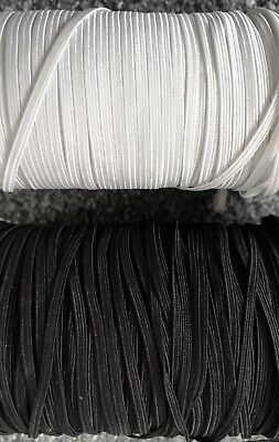 3 Metres Quality Flat Elastic Black & White Craft 3Mm 4Mm 5Mm 6Mm 10Mm 12Mm