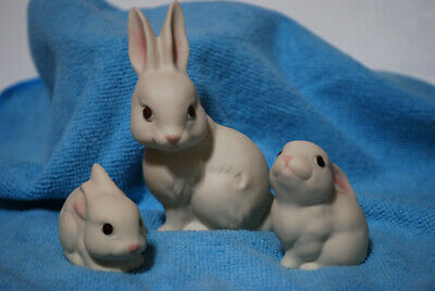 3 pc. Ceramic Bunny Family Easter Rabbits Made in Mexico
