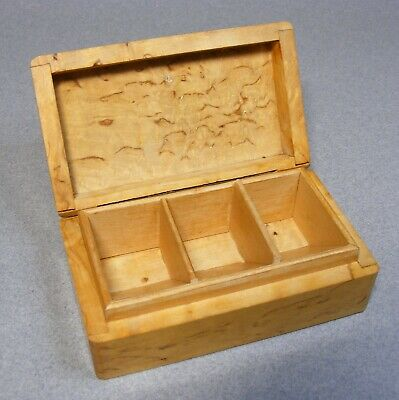 Small Vintage Burlwood Stamp Box