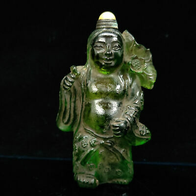 Chinese Antique Hand carved Green Glass Child Model Snuff bottle  LL039