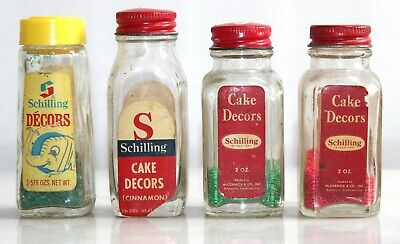 4 Vintage Schilling Decors Crystal Sugars Sprinkles 1950's - 60's Glass Bottles