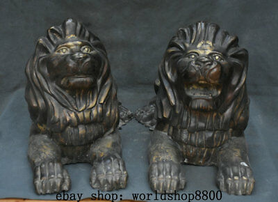 "19"" Ancient Chinese Bronze FengShui Lying Lion Animal King Statue Sculpture Pair"