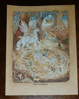 Vintage Antioch bookplate, Pegasus and fairies