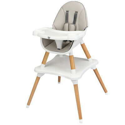 4-in-1 Baby High Chair Infant Wooden Convertible Chair w/ 5-Point Seat Belt Gray