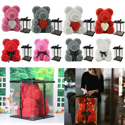 Large 25/40cm Creative Foam Rose Flower Teddy Bear Wedding Birthday Gift In Box