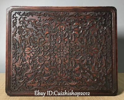 "15"" Unique Chinese Huanghuali Wood Carving Lotus Flower Storage Book Box Statue"