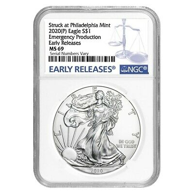 2020 (P) 1 oz Silver American Eagle NGC MS 69 ER Emergency Production