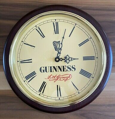 Rare Vintage Brass & Wood GUINNESS Beer Wall Clock With Glass Cover Works Well!!