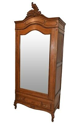Clean & Simple Antique French French Louis XV Armoire, 1920's, Oak