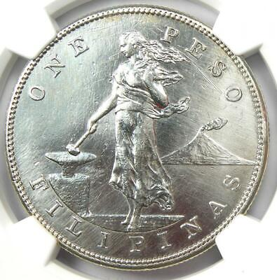 1903-S Philippines Peso 1P - Certified NGC AU Details - Rare Coin!