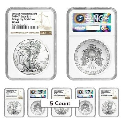 Lot of 5 - 2020 (P) 1 oz Silver American Eagle NGC MS 69 Emergency Production