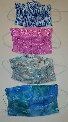 1 Fabric Face Mask - 3 Cotton Layers - Elastic - Flexible Nose - HANDMADE