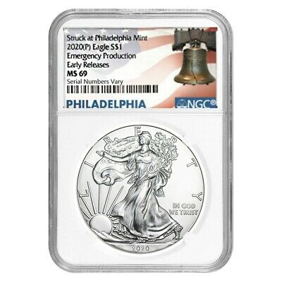 2020 (P) 1 oz Silver Eagle NGC MS 69 ER (Liberty Bell) Emergency Production
