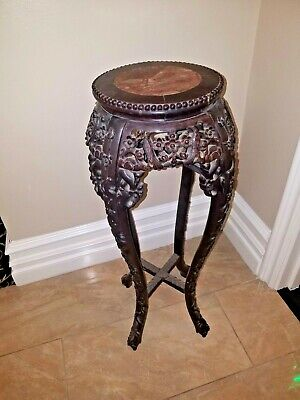 Chinese Hand Carved Rosewood plant Sculpture Stand with marble inset c1860