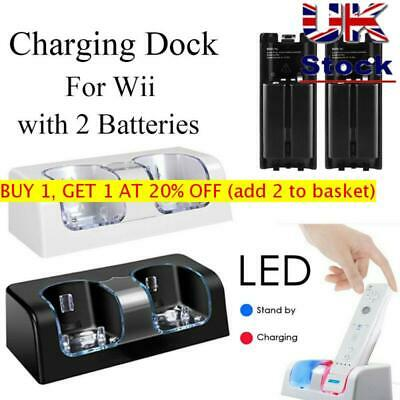 For Nintendo WII Remote Controller 2 Batteries + Charger Charging Dock Station +