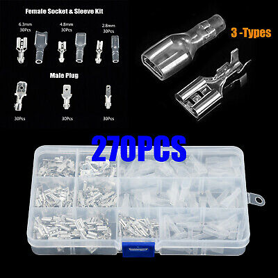 270x Mixed Spade Crimp Terminal Non Insulated Male Female Wire Connector Kit New