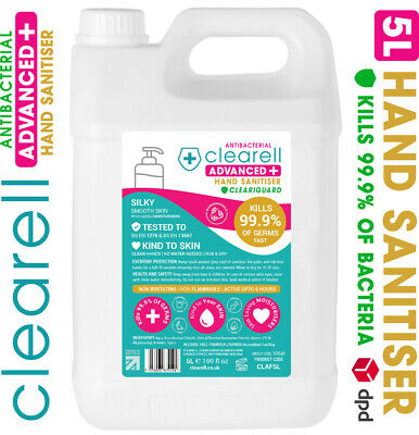 Clearell 5 Litres ADVANCED 99.9% Antibacterial Hand Sanitiser Alcohol Free 5L