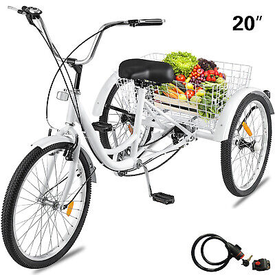 Adult Tricycle 1-Speed 3 Wheel 20'' Yellow Trike Bike 330LBS Tricycle Cruise