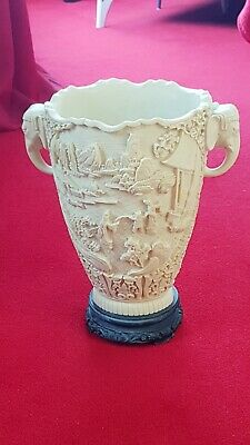 Large Antique Vintage Carved Resin/Soapstone Chinese Oriental Vase - Elephant