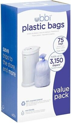 Ubbi Disposable Diaper Pail Plastic Bags, Made with Recyclable Material, NEW