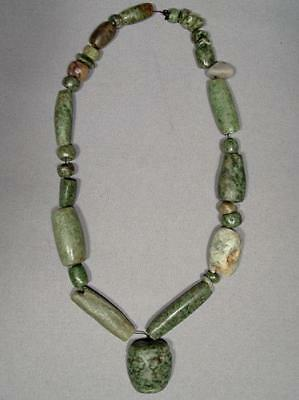 Ancient Pre-Columbian Mayan Maya Green Stone Necklace With Mask Pendant Bead