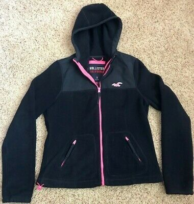 Hollister girls size small zip-up black jacket hoodie Great Shape
