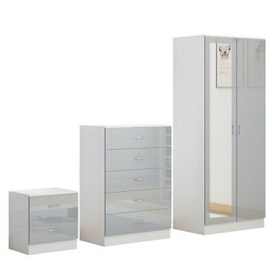 Grey Gloss White Bedroom Furniture Mirrored Wardrobe.Buy as Set or Separately..