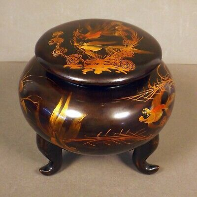 Vintage Antique Japanese Lacquer Three Footed Round Wood Box Goldfish Tea Caddy