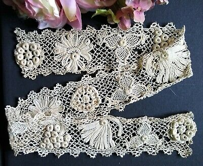 Antique/Vintage Hand Made Irish Clones Lace Dress Trim~5 Different Motifs~26""
