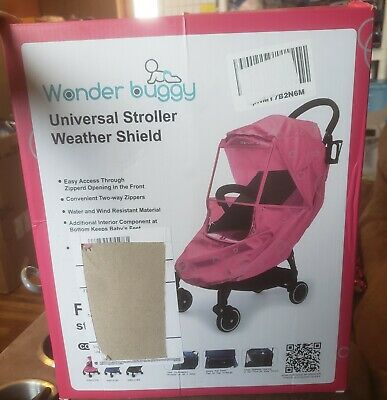 New! Wonder Buggy Universal Stroller Weather Shield! Pink!