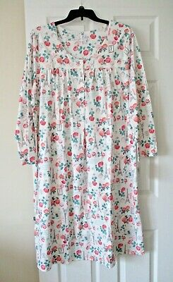 Aria womens sweetheart long sleeve nightgown plus size 2X ivory print