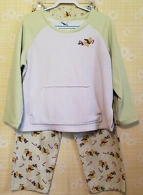 Disney Winnie The Pooh Piglet Christmas Pajama Set. Womens Size MED. Pre-Owned